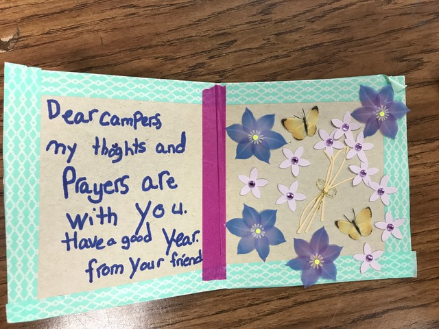 Heilicher students made cards with messages of support for campers and staff at URJ Camp Newman