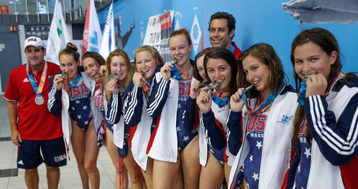 Heilicher Alumna Josie Berman (third from right) tasting silver with her 2017 USA Water Polo Team at the Maccabiah Games