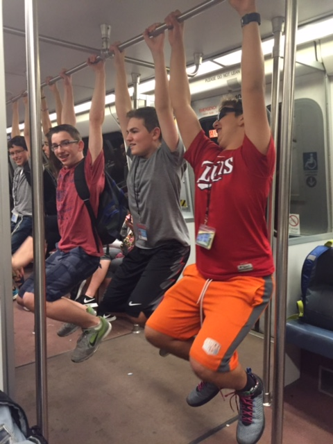 Pull-up Contest on the Metro